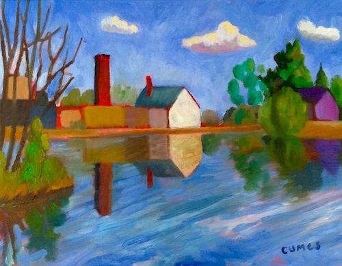 dessin et peinture - vidéo 785 : des reflets colorés sur un étang ... - Peinture A L Eau Sur Peinture A L Huile